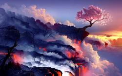 Cherry Tree Volcano Wallpaper in 1920x1200 Widescreen