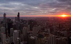 Chicago Buildings Skyscrapers Sunset architecture cities sky clouds sunrise wallpaper background