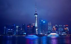 Shanghai China City The Oriental Pearl Tower Blue Sea Night HD Wallpaper