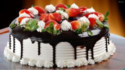 happy birthday chocolate cake with strawberries zyAkC4d9