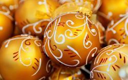 Christmas Balls Gold Holiday New Year