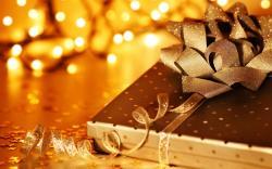 Holiday Christmas Ribbon Bow Gift Lights New Year HD Wallpaper