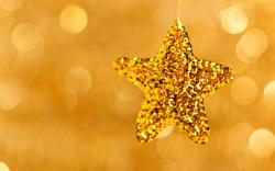 Christmas Star Gold New Year Holiday Bokeh