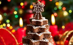 Christmas Tree Cookies Baking Dessert Candles New Year
