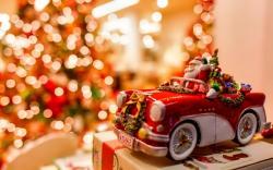 Christmas Tree Lights Santa Claus Car Toy New Year