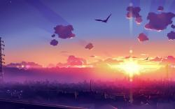 City Birds Clouds Sun Anime