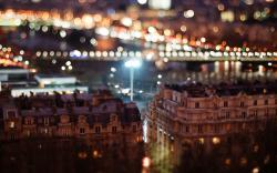 City Night Buildings Tilt-Shift Bokeh Photo