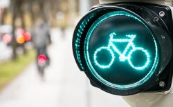 City Road Sign Bicycle Lights Bokeh