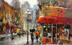 City Street Rain Painting