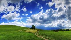 Cloudy sky over the hill wallpaper