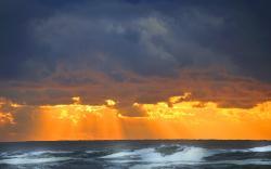 Cloudy sunset ocean