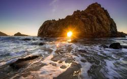 Coast sunset rock hole