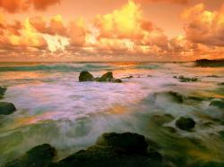 Coastal Dreams Beach With Orange Sky, Hawaii