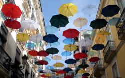 Colorful umbrellas city street