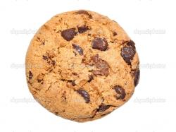 Chocolate chip cookie isolated on white background — Photo by MaxPayne