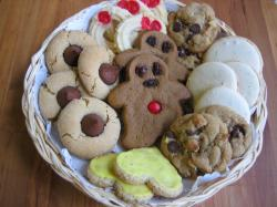 A variety of cookies, including gingerbread men and drop and molded cookies
