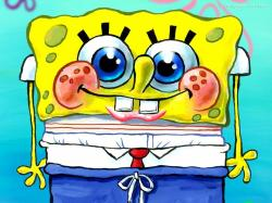 Extraordinary Spongebob Cute Embrassed in Check Blue Pants Underwater Cartoon Wallpapers for Phones
