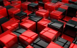 Abstract Cool Red Black Cubes Wallpaper 1440×900