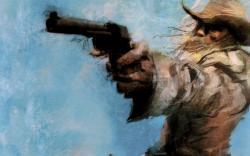 Cowboy revolver art