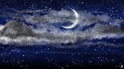 ... Night Sky - Crescent Moon HD by MonaMoonlight