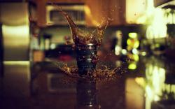 Camera Lens Tea Drink Spray Splash Drops Table Reflection Macro