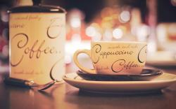 Cup Inscriptions Cappuccino Coffee Bokeh