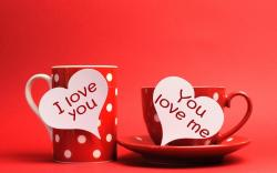 Cups Hearts Inscriptions I Love You You Love Me