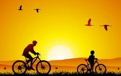 Cycling Sunrise Art