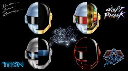Wallpaper of Daft Punk's many helmets ...