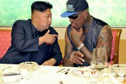 North Korean leader Kim Jong-un meets with former NBA star Dennis Rodman in Pyongyang, North Korea, on September 7th, 2013 Photo: EPA/Rodong Sinmun