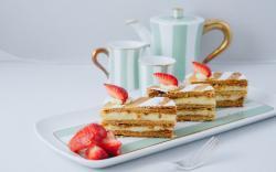 Dessert Cake Mille-feuille Cups Strawberries Berries