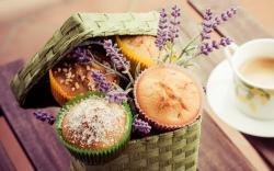 Dessert Cake Muffins Lavender Cappuccino Cup