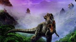 1920x1080 Wallpaper dinosaur, jaws, fangs, fog
