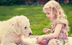 Girl Child Blonde Dog Mood HD Wallpaper
