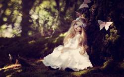Doll Blonde Girl Dress Butterflies