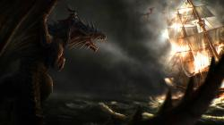 Dragon ship fantasy art