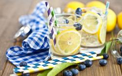 Drink Lemon Berries Blueberries Ice Cubes
