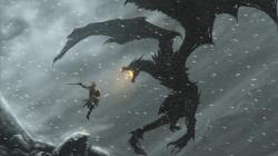Preview wallpaper the elder scrolls, warrior, dragon, snow, fire 3840x2160