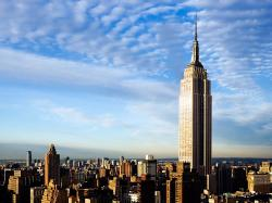 empire state building over the blue sky
