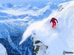 extreme skiing, skier, mountains, snow