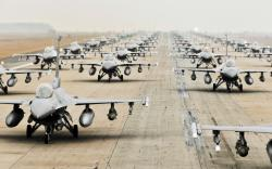 F16 jets military airfield