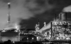 Factory, Night, Lights, BW, Steam HD dimensions wallpaper picture