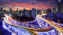 Fantastic city highway intersections at dusk HQ WALLPAPER - (#109284)