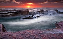 Wallpaper Tags: shore sea sunset rocks waves