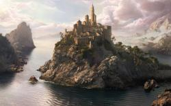Awesome 3D Fantasy Art Home Island Wallpaper H #2972 Wallpaper .