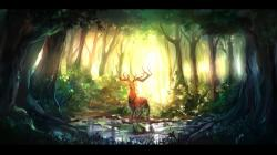 Fantasy deer sunlight art Wallpapers Pictures Photos Images · «