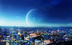 Fantasy night city background Fantasy HD Wallpaper 1920x1200 px