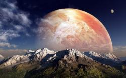 Fantasy planet mountains