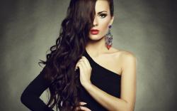 Girl Makeup Red Lips Black Dress Fashion