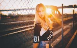 Fence Blonde Girl Model Sun
